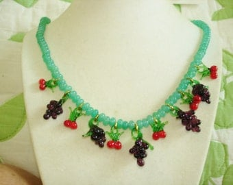 Red Cherry Purple Grape Clusters Gold Tone Necklace