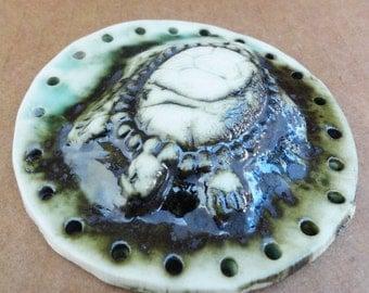 3D Turtle Start for Basketry White Green Black Metallic