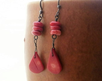Bohemian Dangle Red Coral and Steel Wire wrapped Earrings Boho  Minimalist Lightweight Ooak Handmade Beachy