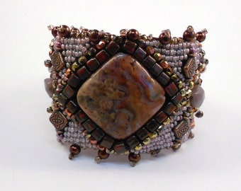 Classic Merlot Bead Embroidered Cuff