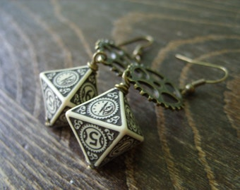 D8 steampunk dice earrings clockwork dice jewelry dnd dungeons and dragons toothed bar pathfinder dice jewelry steam punk earrings dice
