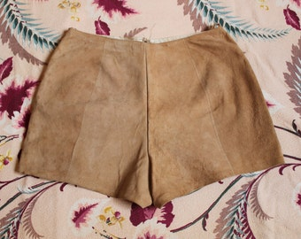 Leather Short Shorts Made in France Tan Suede Hot Pants size Small VINTAGE by Plantdreaming