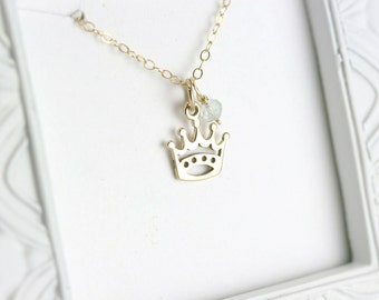 Gold Princess Necklace - Disney Princess Necklace - Crown Necklace - Disney Lover Gift - Gold Queen Necklace - Disney Princess Jewelry