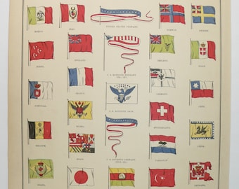1888 Vintage Print of World Flags Print, United States USA Decor Art Gift for Office, Patriotic Gift Red White and Blue, Antique Color Print