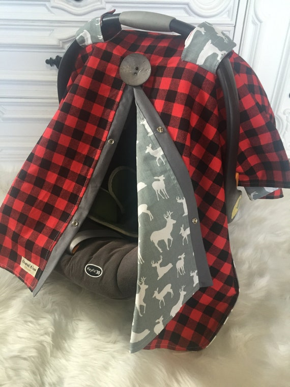 Car seat cover / red and gray / boy car seat cover / red plain / buffalo plaid / deer / car seat canopy / nursing cover