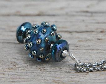 Boho Large Metallic Deep Blue Sunburst Pendant Necklace