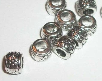 Antique silver plated 7mm ornate ring spacer beads 50 pcs (0792)
