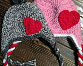 Earflap Hat with Heart - Many Sizes Available