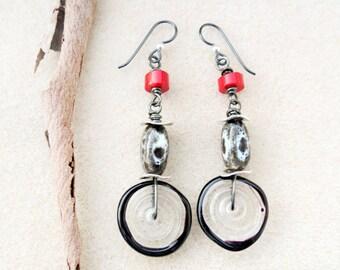 Lampwork Earrings, Red Coral, Black Gray Ceramic, Niobium, Non-allergenic Ear Wire, Sensitive Ears, Handmade Earrings Jewelry
