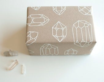 Crystals Gift Wrap Sheet - Holiday Wrapping Paper - Christmas - white on kraft - screenprinted - diamonds - engagement - magic - modern