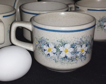 Set of 6 Lenox Temper Ware Dewdrops Cups / Vintage Daisy Coffee Cups / Lenox Temperware Mugs