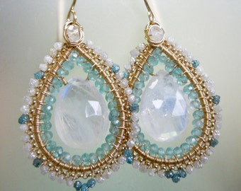 Diamonds, moonstone, teal diamonds, apatite