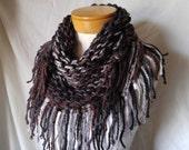 Fringe scarf Brown black grey triangle Extra chunky neckwarmer Tribal bib acrylic Gift for her Winter warm knit wrap Boho accessory