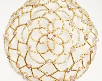 Gold, Pearl and Pale Pink Kippah