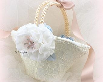 Flower Girl Basket, Ivory, Serenity Blue, Rose Quartz, Rose, Dusty Blue, Ivory Lace Basket, Vintage Wedding, Round Basket, Something Blue