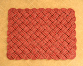 Handwoven CHOOSE YOUR COLOR Rectangular Rug from our recycled rope stock