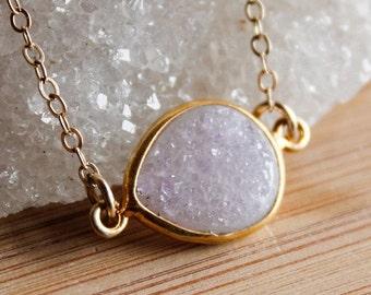 ON SALE Gold Agate Druzy Quartz Necklace - Side Teardrop - Choose Your Stone