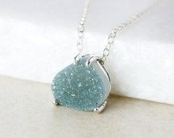 ON SALE Sage Green Druzy Pendant Necklace - Pear-Shape - Choose Your Druzy