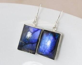 25% OFF Blue Labradorite Dangle Earrings – Rectangle – Sterling Silver Hooks