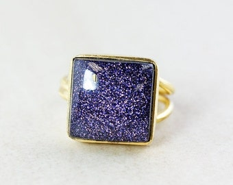 25% OFF Square Statement Sunstone Ring - Midnight Blue Sunstone