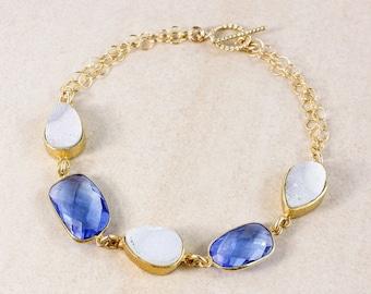 20% OFF Swiss Blue Quartz Bracelet – Druzy – 14K Gold Filled