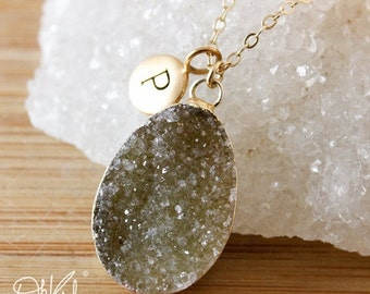 50 OFF SALE Olive Green Druzy Necklace - Multi-Colour Druzy - Initial Charm Necklace