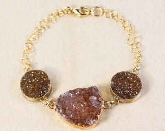 50 OFF SALE Maroon Agate Druzy Bracelet - Three-Stone Bracelet - Gold or Silver