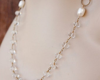 CLEARANCE SALE Gold Crystal Quartz and Pearl Necklace - Bridal Necklace - 14K Gf
