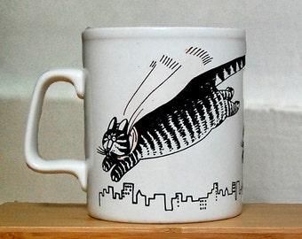 Vintage B Kliban Super Cat Ceramic Mug Coffee Tea 1970s.