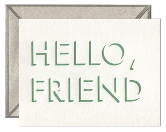 Hello Friend letterpress card - single