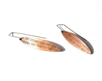 Copper Stamped Shield Earrings