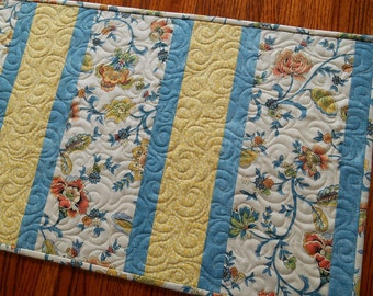 Blue and Yellow Table Runner, Quilted Table Runner, Floral Table Topper