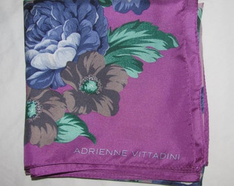 Vintage Adrienne Vittadini Square Silk Scarf - Purple Floral Design - Big Blue, Grey Flowers - Large Size, Light Silk