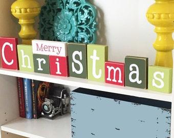 Merry Christmas Blocks- Christmas Decor, Christmas Wood Blocks, Christmas Sign, Wood Christmas Sign, Christmas Home Decor, Christmas Blocks