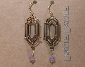Tanzanite Art Deco Earrings - Dangle - Downton Abbey Inspired - Gemstone