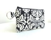 Black and White Medallion Print Zippered Bag / Coin Purse / Id Case / Gadget Pouch with Split Ring - READY TO SHIP
