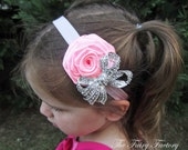 Light Pink Flower Headband, Pink Satin Rose w/ Sparkling Rhinestone Crystal Bow Light Pink Headband, Baby Toddler Child Girls Headband