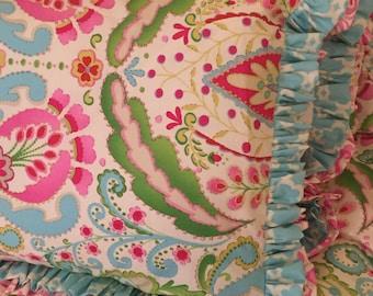 Kumari Garden Teja Pink Standard Pillow Sham with Double Ruffles