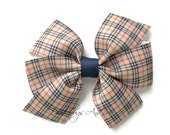 Plaid Pinwheel Bow, Navy And Tan Plaid Hair Bow, Toddler Hair Bow, Back To School Bow, Hair Bows For Girls, Piggy Tail Bow, Bow For Ponytail