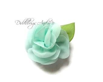 Chiffon Rose Hair Clip, Aqua Rose Hair Clip, Flower Hair Clip, Chiffon Flower Hair Clip, Photo Prop, Flower Girl Hair Clip, Rose Clip