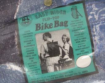 denim patchwork backpack 70s novelty hippie flip top bike bag new old stock