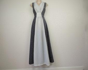 silver lurex maxi gown 70s disco goth queen black + silver metallic sleeveless goddess dress medium new old stock