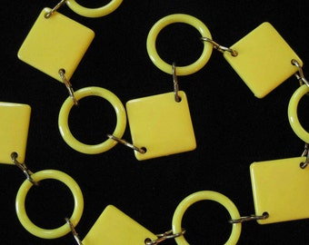 Mod Yellow Lucite Chain Belt, 1970's