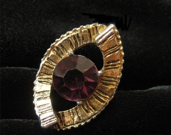 Abstract Modern Costume Ring, Purple Stone