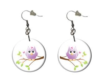 Lavender Owl Earrings Purple Owl on a Branch Dangle Earrings Fun Casual Earrings