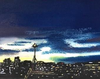 Sundown in Seattle - 5x7 Original Pastel Painting