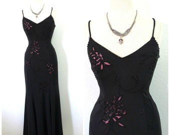 Vintage black dress, beaded maxi cut-out illusion, Spaghetti strap evening gown, Holiday formal party Small