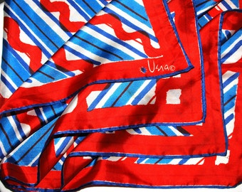 "Vera Neumann geometric design Vintage 1970s Red White and Blue 25"" large square ladybug Scarf"