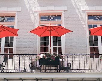 "New Orleans Balcony Photograph French Quarter. ""Red Umbrellas"" Fine Art Photograph, Home Decor, Wall Art."