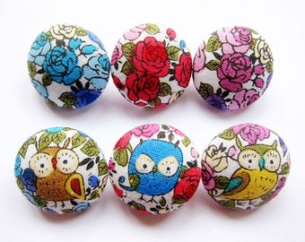Owl Buttons - Sewing Buttons / Fabric Buttons - 6 Small Fabric Buttons Set
